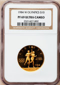 Modern Issues: , 1984-W G$10 Olympic Gold Ten Dollar PR69 Ultra Cameo NGC. NGCCensus: (131/0). PCGS Population (7173/204). Mintage: 381,085...