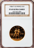 Modern Issues: , 1984-P G$10 Olympic Gold Ten Dollar PR69 Ultra Cameo NGC. NGCCensus: (19/0). PCGS Population (2158/38). Mintage: 33,300. N...