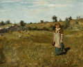 American:Impressionism, WILLARD LEROY METCALF (American, 1858-1925). Woman in aField, 1878. Oil on canvas. 14 x 17 inches (35.6 x 43.2 cm).Sig...