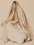 Works on Paper, FRANCISCO ZÚÑIGA (Mexican, 1912-1998). Mujer Sentada, 1971. Black and sepia Conté on paper. 25-5/8 x 19-3/4 inches (65.0...