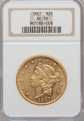 Liberty Double Eagles: , 1867 $20 AU58 NGC. NGC Census: (90/150). PCGS Population (61/137).Mintage: 251,065. Numismedia Wsl. Price for problem free...
