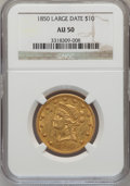 Liberty Eagles: , 1850 $10 Large Date AU50 NGC. NGC Census: (40/189). PCGS Population(38/47). Mintage: 291,451. Numismedia Wsl. Price for pr...