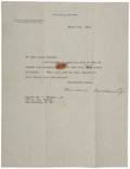 "Autographs:U.S. Presidents, Charming Eleven Year Old Boy's Letter to Theodore Roosevelt andRoosevelt's Reply Via a Typed Letter Signed ""Theodore Ro...(Total: 2 Items)"
