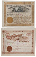 Miscellaneous:Ephemera, Pair of Late 19th Century Gold Mining Company Stock Certificates:The Findley Gold Mining Company and The Montevideo Mining & ...(Total: 2 Items)