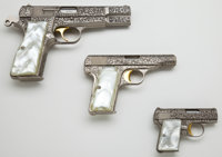 *Cased Engraved Browning Renaissance Set of Three Semi-Automatic Pistols