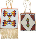 American Indian Art:Beadwork and Quillwork, TWO PLATEAU BEADED HIDE FLAT BAGS. c. 1920... (Total: 2 Items)