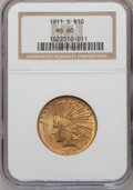 Indian Eagles, 1911-S $10 MS60 NGC....