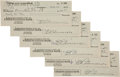 Autographs:Authors, Edgar Rice Burroughs. Six Personal Checks Signed. Burroughs'personal checks from the Citizens National Bank of Los Angeles....(Total: 6 Items)