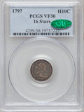 Early Half Dimes, 1797 H10C 16 Stars VF30 PCGS. CAC. PCGS Population (4/36).Numismedia Wsl. Price for problem free NGC/P...