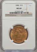 Liberty Eagles: , 1888 $10 MS60 NGC. NGC Census: (85/162). PCGS Population (32/72).Mintage: 132,996. Numismedia Wsl. Price for problem free ...