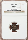 Proof Three Cent Silver: , 1861 3CS PR63 NGC. NGC Census: (23/58). PCGS Population (27/75).Mintage: 1,000. Numismedia Wsl. Price for problem free NGC...