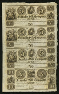 Obsoletes By State:Ohio, Franklin, OH- The Franklin Silk Company $5-$5-$5-$10 Wolka1124-01-01-01-05 Uncut Sheet. ...