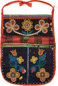 American Indian Art:Beadwork and Quillwork, A SIOUX BEADED CLOTH WALL POCKET. c. 1890...