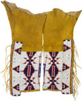 American Indian Art:Beadwork and Quillwork, A PAIR OF CHEYENNE WOMAN'S BEADED HIDE LEGGINGS. c. 1890...