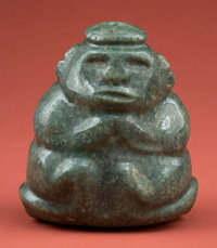 Important Pre-Classic Maya Jade Man on Throne