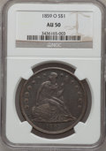 Seated Dollars: , 1859-O $1 AU50 NGC. NGC Census: (15/390). PCGS Population (40/533).Mintage: 360,000. Numismedia Wsl. Price for problem fre...