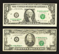 Error Notes:Shifted Third Printing, Fr. 1921-B $1 1995 Federal Reserve Note. Very Fine;. Fr. 2073-B $20 1981 Federal Reserve Note. Fine-Very Fine.. ... (Total: 2 notes)
