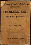 Books:Horror & Supernatural, Mrs. [Mary Wollstonecraft] Shelley. Frankenstein; or, The Modern Prometheus. London: Masterpiece Library, [1890]...