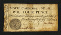 Colonial Notes:North Carolina, North Carolina March 9, 1754 4d Monogram Fine-Very Fine.. ...