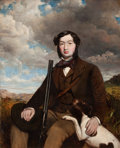 Fine Art - Painting, European:Antique  (Pre 1900), BRITISH SCHOOL (19th Century) . Gentleman with a Hunting Dogbefore an Extensive Landscape. Oil on canvas. 50-1/4 x 40 i...