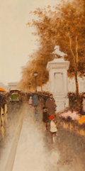 Paintings, ANDRE GISSON (French/American, 1921-2003). Pair of Paris Street Scenes. Oil on canvas . 24-1/4 x 12-1/4 inches (61.6 x 3... (Total: 2 Items)