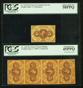 Fractional Currency:First Issue, Fr. 1230 5¢ First Issue Vertical Strip of Four PCGS Extremely Fine45PPQ. Fr. 1231 5¢ First Issue PCGS Choice About New 58... (Total:2 items)