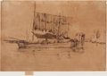 Fine Art - Work on Paper:Drawing, JAMES ABBOTT MCNEILL WHISTLER (American, 1834-1903). FishingBoat (From the Second Venice Set), 1879-1880. Etching. Sign...