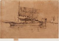 JAMES ABBOTT MCNEILL WHISTLER (American, 1834-1903) Fishing Boat (From the Second Venice Set), 1879-188