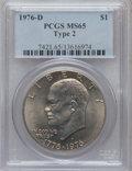 Eisenhower Dollars: , 1976-D $1 Type Two MS65 PCGS. PCGS Population (1660/790). NGC Census: (938/253). Mintage: 82,179,568. Numismedia Wsl. Price...