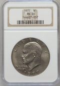 Eisenhower Dollars: , 1977 $1 MS65 NGC. NGC Census: (1740/286). PCGS Population (1095/809). Mintage: 12,596,000. Numismedia Wsl. Price for proble...