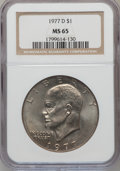 Eisenhower Dollars: , 1977-D $1 MS65 NGC. NGC Census: (1593/134). PCGS Population (1312/427). Mintage: 32,983,006. Numismedia Wsl. Price for prob...