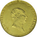 German States:Bavaria, German States: Bavaria. Maximilian Joseph gold Ducat 1820, F-265,KM356, MS63 NGC. Fully lustrous and brilliant with greenish-goldpatina a...