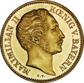 German States:Bavaria, German States: Bavaria. Maximilian II gold Ducat 1849, KM457,F-277, UNC with prooflike surfaces and numerous hairlines in theobverse fiel...