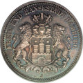 German States:Hamburg, German States: Hamburg. Free City 2 Mark 1876J, KM290, MS65 PCGS. Sharply struck with superb blue and gray toning over full original luster...