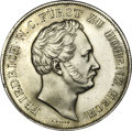 German States:Hesse-Darmstadt, German States: Hohenzollern-Hechingen. Friedrich Wilhelm Constantin 2 Gulden 1847, KM48, Dav-717, cleaned XF with a tiny edge punch at 12 o...