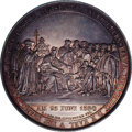German States:Saxony, German States: Saxony. Silver medal on the 300th Anniversary of the Augsburg Confession, by Loos & Pfeuffer, Scene of the Delivery of the A...