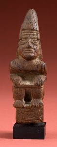 Antiques:Antiquities, Mochica Wood Figure of a Crouching Warrior or Lord...