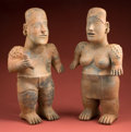 Pre-Columbian:Ceramics, Superb Pair of Very Large, Almost Monumental Jalisco Figures...