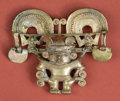 American Indian Art:Pottery, Tairona Gold Plated Deity Pendant...