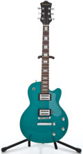 Musical Instruments:Electric Guitars, Recent DeArmond LP Turquoise Solid Body Electric Guitar#010208268...