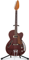 Musical Instruments:Electric Guitars, 1960's Vox Wine Red Semi-Hollow Body Electric Guitar #395269...