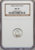 Modern Bullion Coins, 2008 $10 Plat 1/10 Oz MS70 NGC. NGC Census: (0). PCGS Population(386). (#393104)...