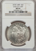 Morgan Dollars, 1878 7/8TF $1 7/4TF Weak MS64 NGC. Vam-33 NGC Census: (0/0). PCGSPopulation (756/123). Mintage: 544,000. (#7070)...