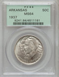 Commemorative Silver: , 1937 50C Arkansas MS64 PCGS. PCGS Population (431/341). NGC Census:(327/249). Mintage: 5,505. Numismedia Wsl. Price for pr...