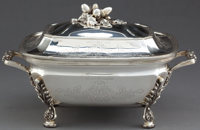 AN AMERICAN SILVER COVERED ENTREE SERVING DISH Unknown maker, American, circa 1900 Marks: (effaced makers mar
