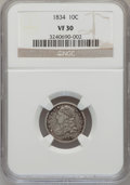 Bust Dimes: , 1834 10C Small 4 VF30 NGC. NGC Census: (6/262). PCGS Population(2/175). Mintage: 635,000. Numismedia Wsl. Price for proble...