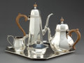 Silver Holloware, American:Tea Sets, A SCHROTH FOUR-PIECE SILVER TEA AND COFFEE SERVICE WITH TRAY . WinSchroth, Montville, New Jersey, circa 1950 . Marks: SCH...(Total: 6 Items)