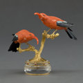 Decorative Arts, Continental:Other , A PAIR OF ERWIN KLEIN GOLD AND HARDSTONE IIWI BIRDS . Erwin Klein,Idar-Oberstein, Germany, circa 1982. Marks: ERWIN KLEIN...