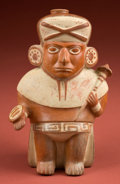Antiques:Antiquities, Mochica III Stirrup Vessel Depicting a Standing Warrior...