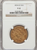 Liberty Eagles, 1874-CC $10 Fine 12 NGC. Variety 1-A....
